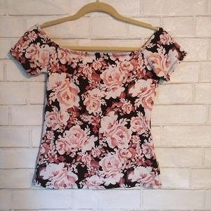 Garage Floral Rose Print Off-the-Shoulder Crop Top